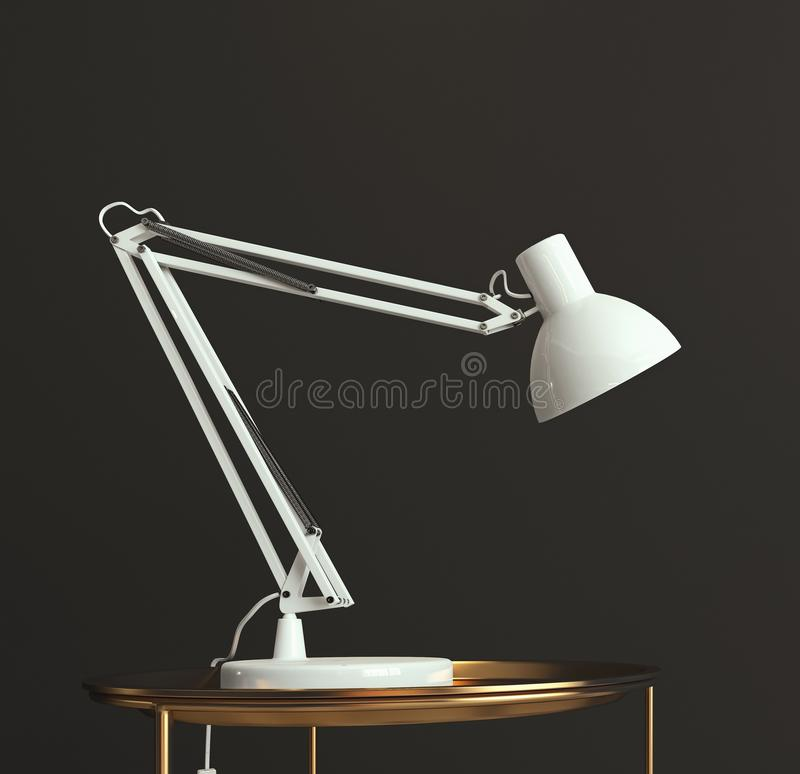 White desk lamp shining on empty dark gray wall, copy space, template, card. 3d rendering royalty free illustration