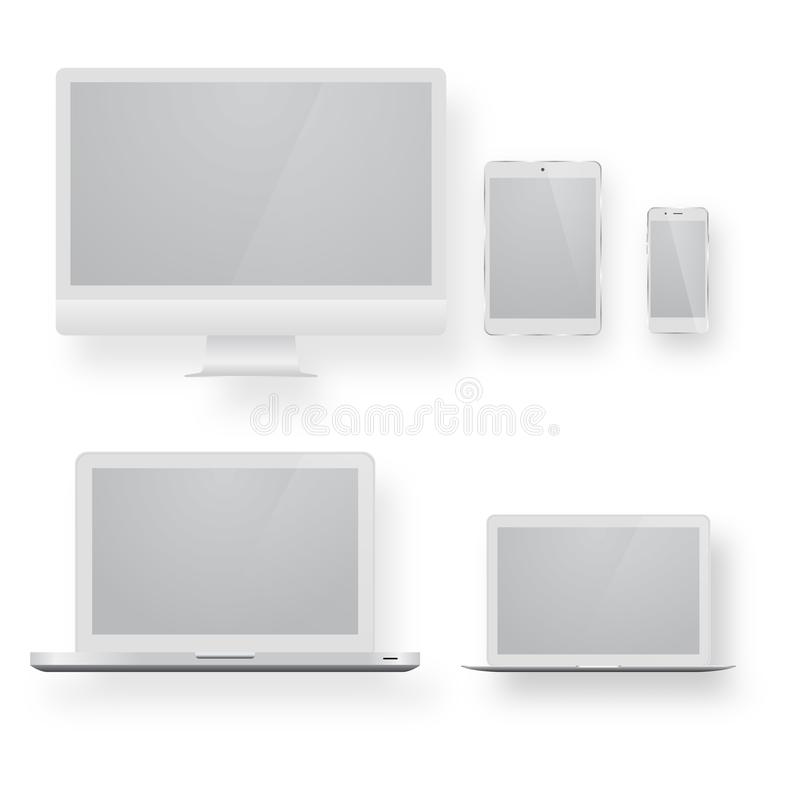 White desktop computer display screen smartphone tablet portable notebook or laptop. Electronic devices with white, shiny screens isolated on white background vector illustration