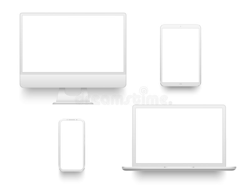 White desktop computer display screen smartphone tablet portable notebook or laptop. Mockup electronics devices vector royalty free illustration