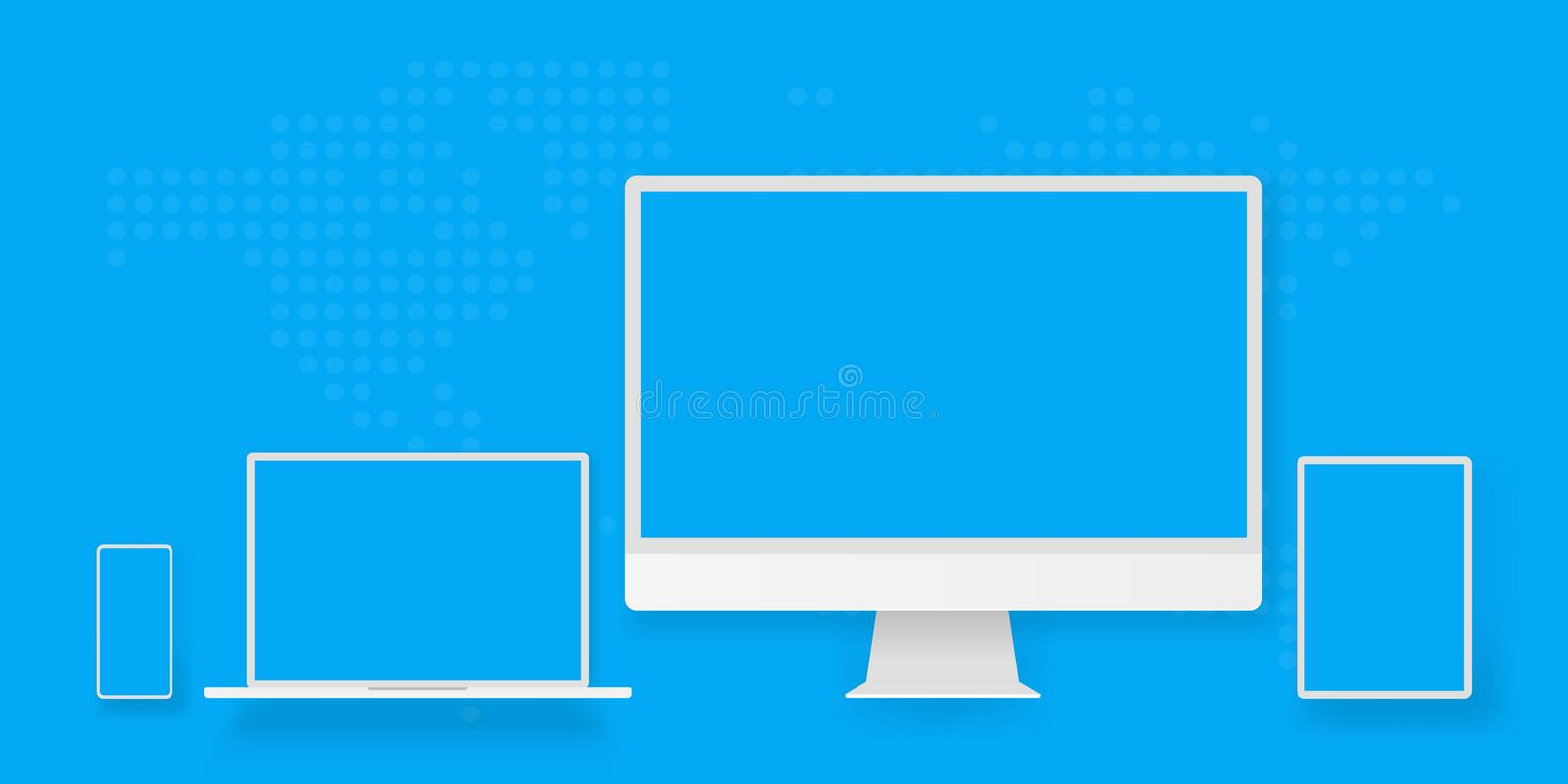 White desktop computer display screen smartphone tablet portable notebook or laptop. Outline mockup electronics devices phone. Monitor lines realistic simple stock illustration