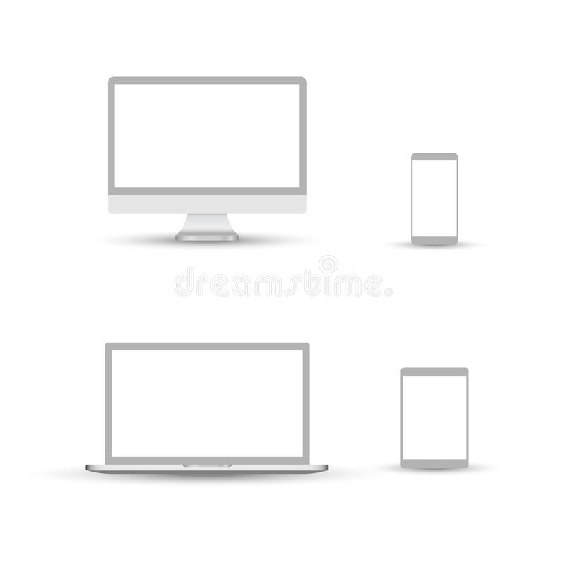 White desktop computer display screen smartphone tablet portable notebook or laptop. Outline mockup electronics devices phone. Monitor lines realistic simple vector illustration