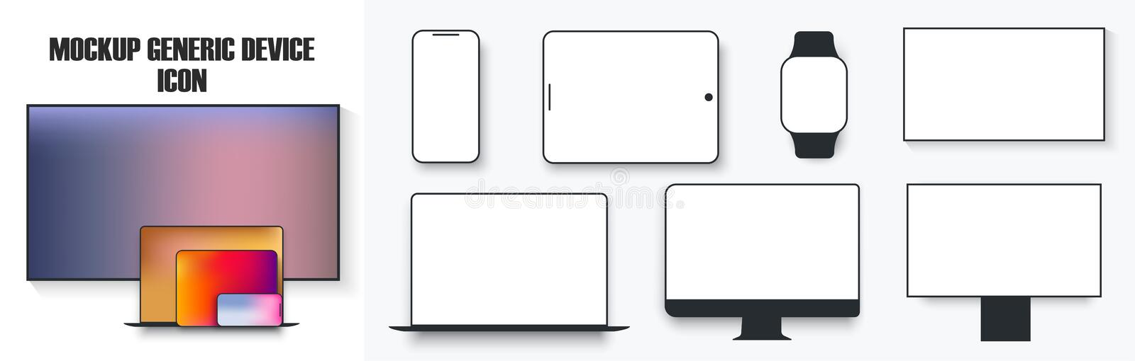White desktop computer display screen smartphone tablet portable notebook or laptop and tv icon. Outline mockup. Electronics devices phone monitor lines simple royalty free illustration