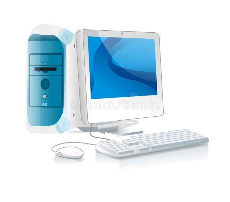 White Desktop PC stock photo