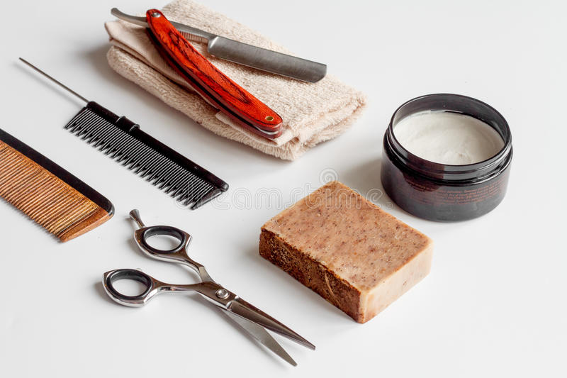 White desktop with tools for shaving beards. Close up royalty free stock photo