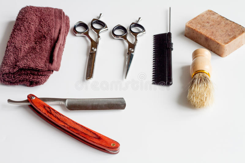 White desktop with tools for shaving beards. Close up royalty free stock photos