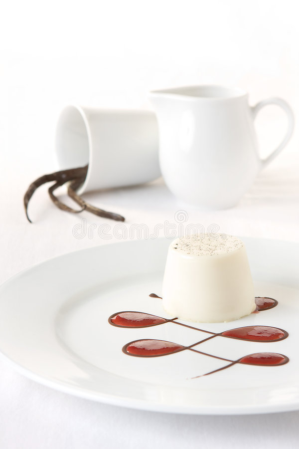 White dessert. Classy dessert with vanilla flan; fritters and strawberry sauce in chocolate lines royalty free stock photos