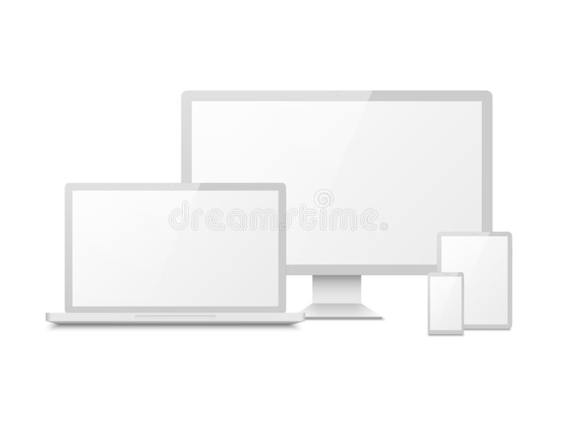 White device mockup. Tablet laptop smartphone screen computer pc display. 3d electronic touchscreen multimedia devices stock illustration
