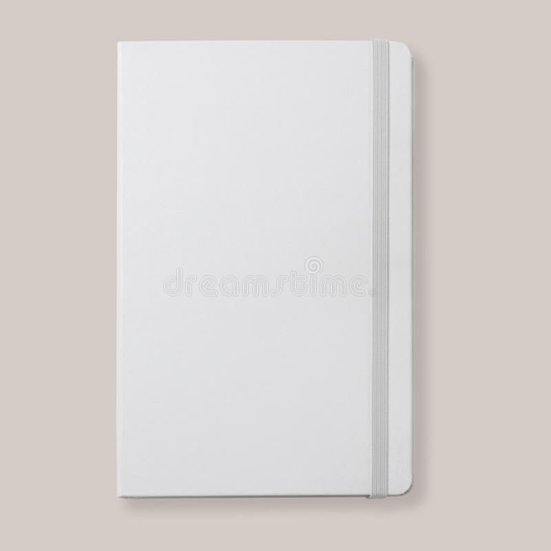 White diary, notebook with rubber band, top view flat lay, mock-up for design royalty free stock images