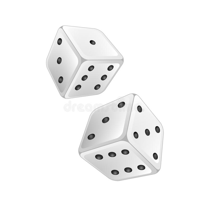 White dice. On a white background stock illustration