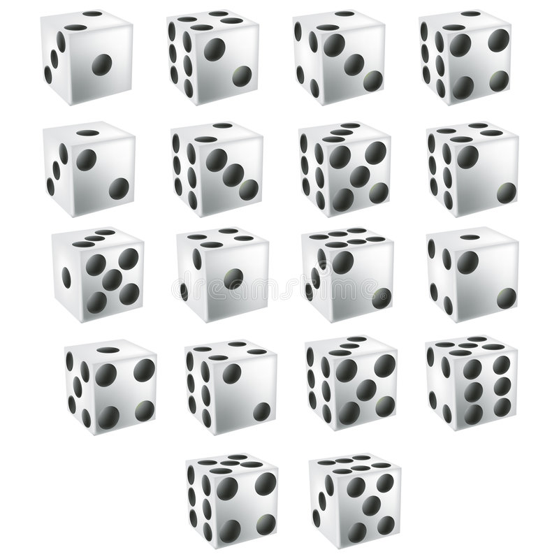 White Dice with clipping path. Illustration with clipping path stock illustration