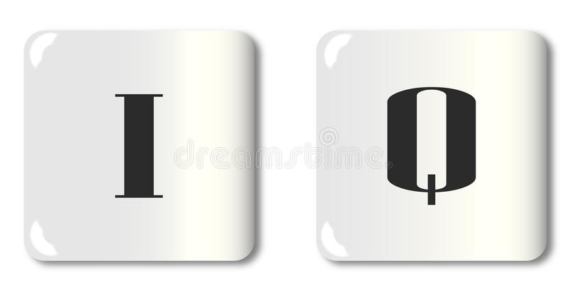 I Q Dice. White dice with the letters of the alphabet I and Q royalty free illustration