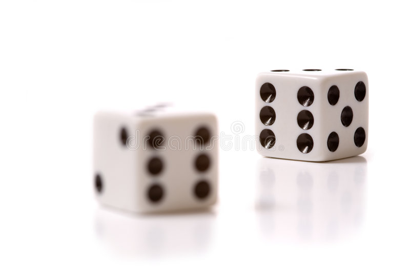 White Dice on White royalty free stock photos