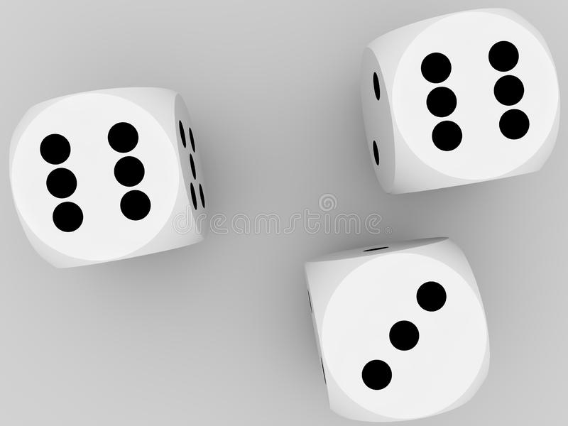 White dice on white background. 3d illustration royalty free illustration