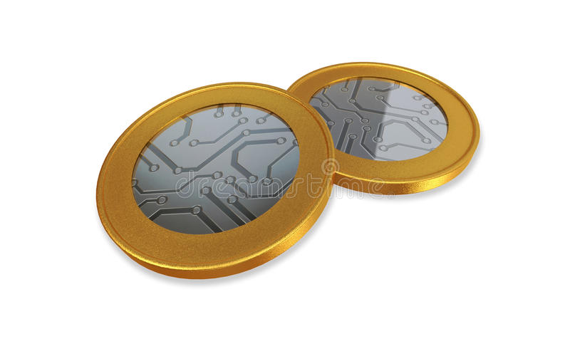 White digital gold silver max coins royalty free illustration