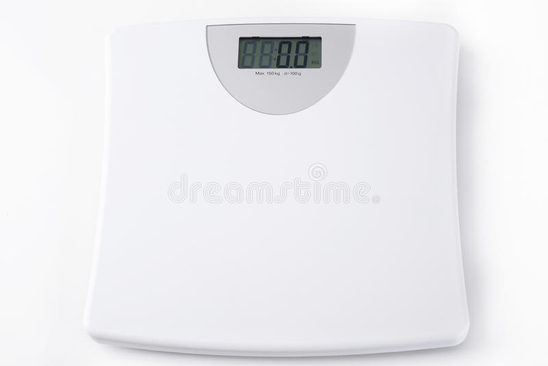 White digital scale weight stock photo