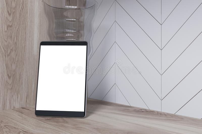 White digital tablet screen on a wooden table stock illustration