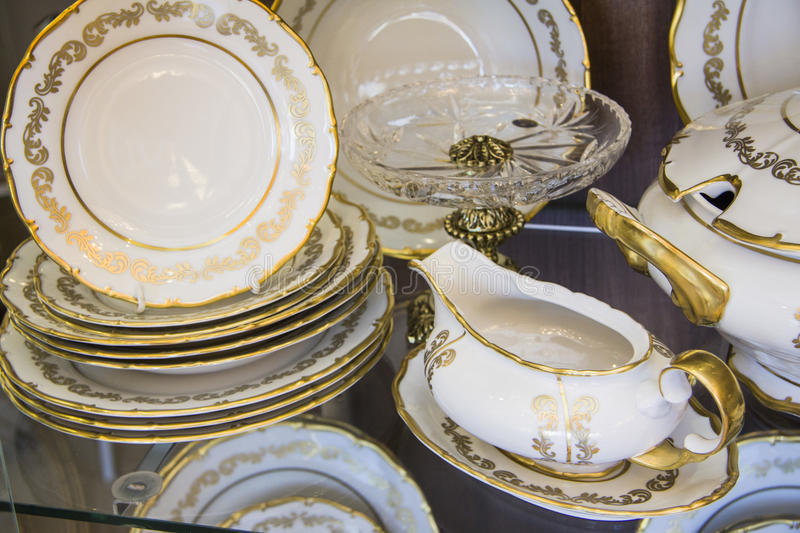 Download White Dining Plates Set Stock Image. Image Of Gilded   48452849
