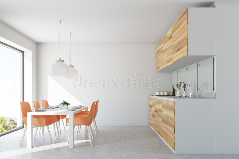 White dining room and kitchen, orange chairs. White wall dining room interior with a concrete floor, a long wooden table and orange chairs. Wooden counters. 3d stock illustration