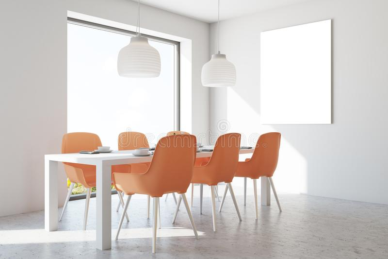 White dining room, orange chairs, poster. White wall dining room interior with a concrete floor, a long wooden table and orange chairs. A poster. 3d rendering stock illustration