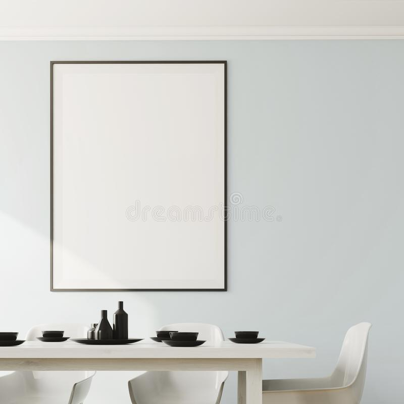 White dining room, vertical poster close up. Close up of a white dining room interior with a white wooden table and chairs and a framed poster on the wall. 3d royalty free illustration