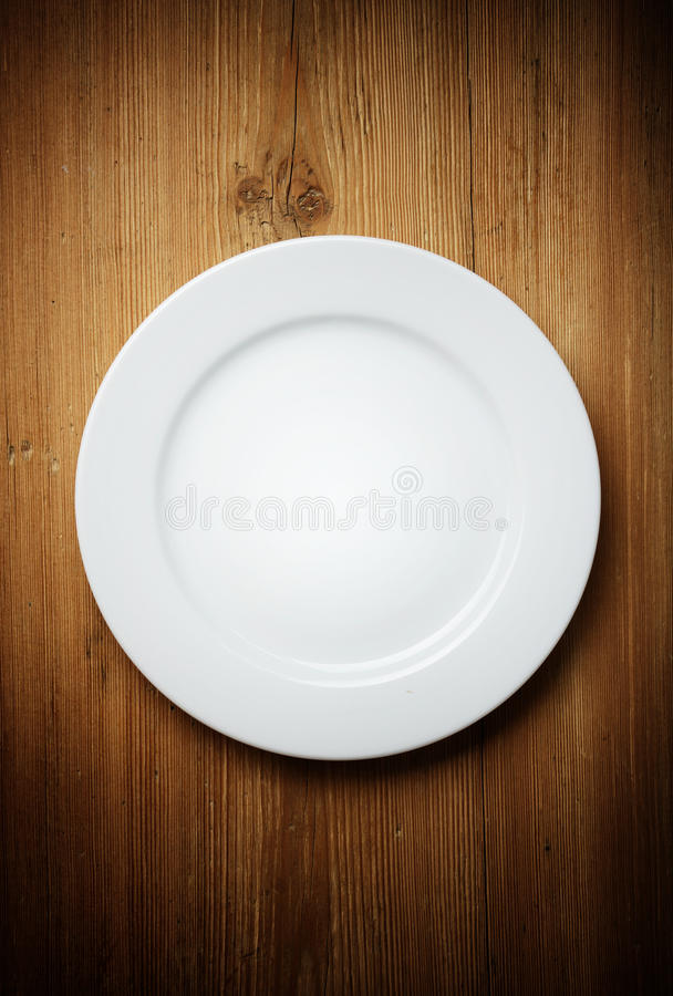 Download White Dinner Plate on Wood stock image. Image of platter - 28755227