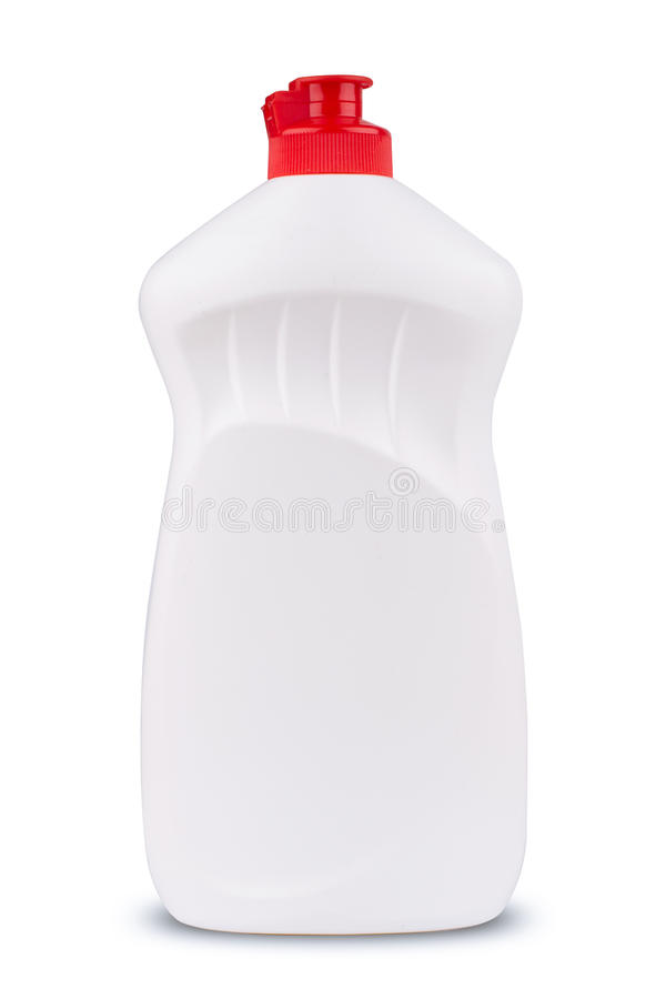 White dish cleaning gel bottle isolated. Front view of white dish cleaning gel blank plastic bottle with red lid isolated stock images