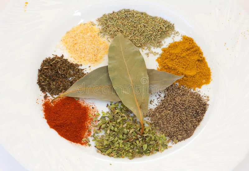 White dish with many spices stock images