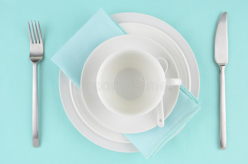Download White Dishes On Aqua Tablecloth Stock Image - Image: 28777923