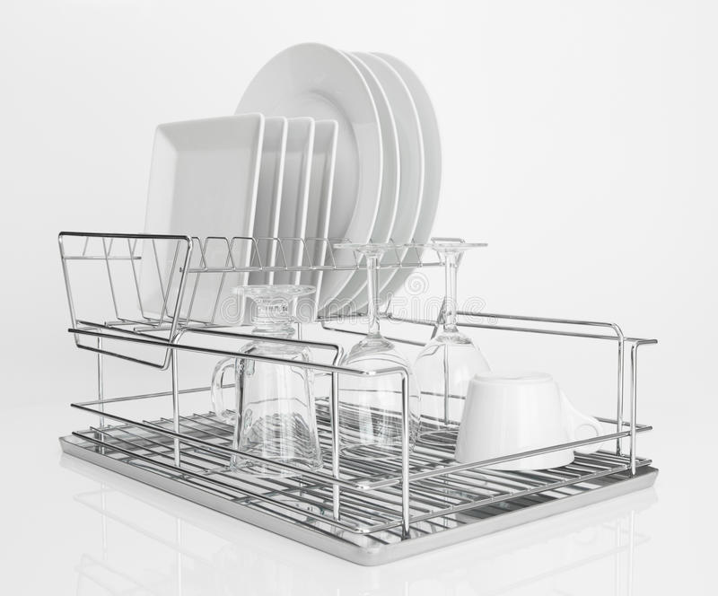 Download White Dishes Drying On Metal Dish Rack Stock Photo - Image of color up  sc 1 st  Dreamstime.com & White Dishes Drying On Metal Dish Rack Stock Photo - Image of color ...