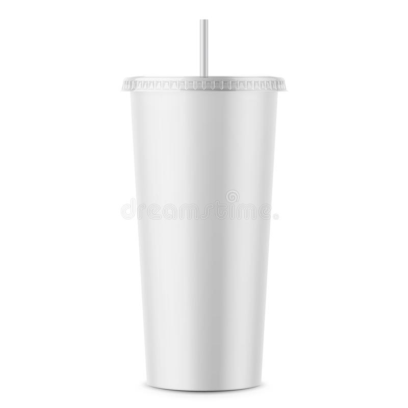 White disposable paper cup with lid and straw. stock illustration