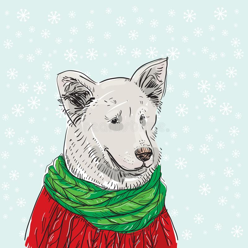White dog in a Christmas red knitted sweater and a green scarf. Shepherd. Sketch drawing. Black contour on a blue winter backgroun. D with white snowflakes royalty free illustration