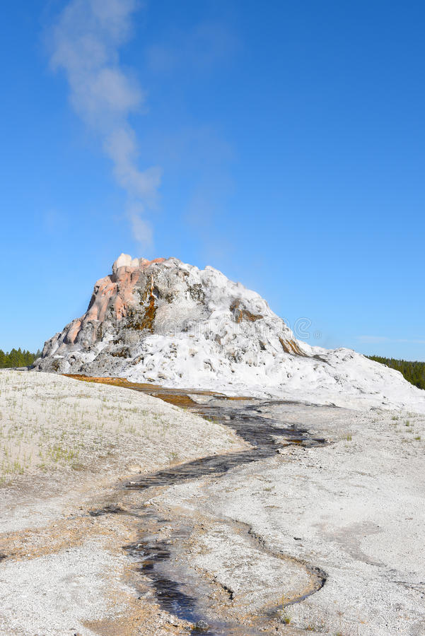 White Dome Geyser. With a cone centuries old it is one of largest in Yellowstone national Park. Its 12-foot-high geyserite cone is one of the largest in the royalty free stock image