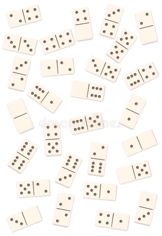 Free White Dominos Shuffled Game Mixed Up Tiles Pieces Stock Photography - 203621082