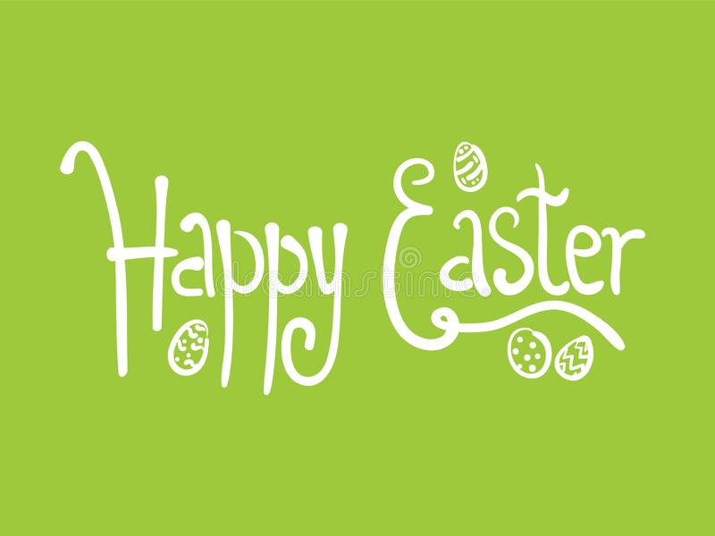 Doodle green Happy Easter poster with egg and text. White doodle handwritten Happy Easter text with eggs on green grass background. Funny comic Easters lettering vector illustration