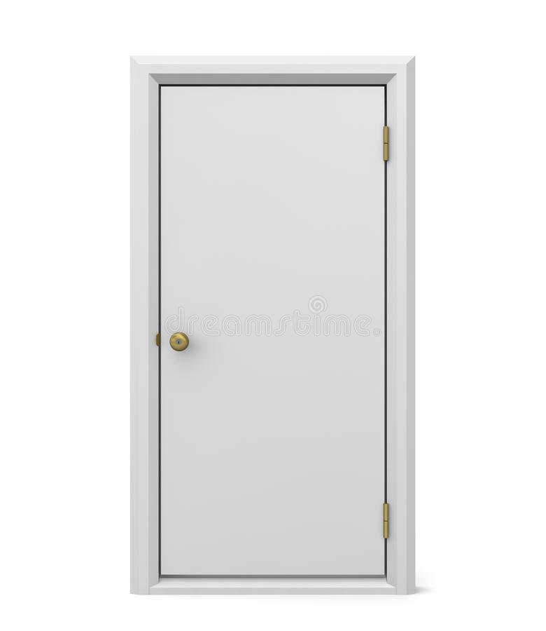 White Door. Simple white solid door and door frame free standing on an isolated background royalty free stock photo