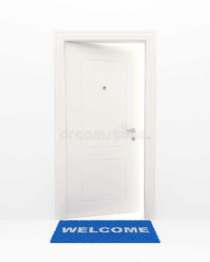 Download The White Door And Blue Rug. Stock Illustration - Illustration: 23414037