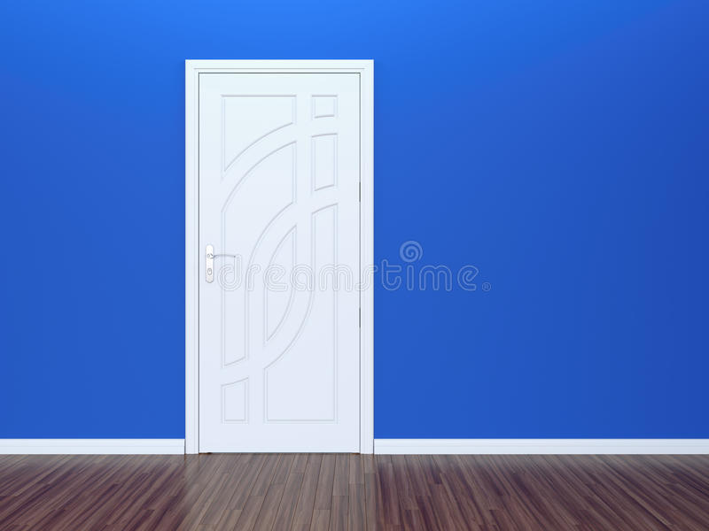 White door and blue wall stock illustration