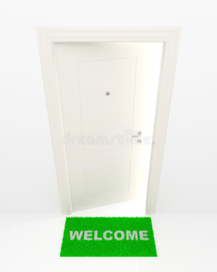 Download The White Door And Green Rug. Stock Illustration - Image: 23414076