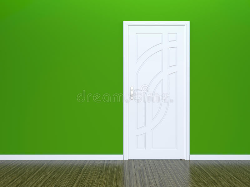 White door and green wall royalty free illustration