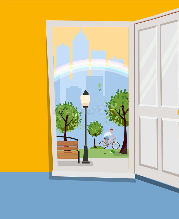 White door inside house with view of urban landscape.Outside park with green trees, skyscrapers silhouettes, rainbow. Summer stock illustration