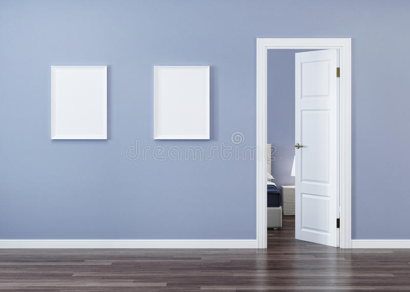 White door in the interior with a blue wall. royalty free illustration