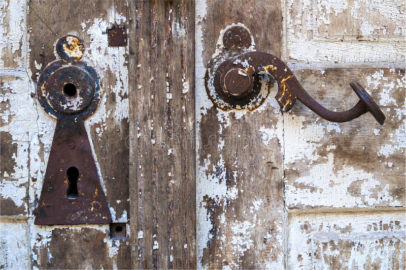 White Door with Keyhole and Handle stock photo