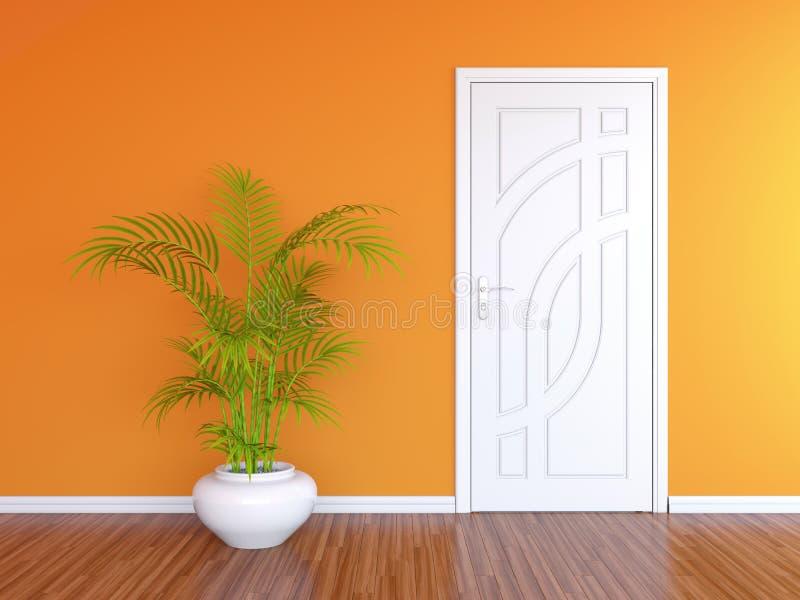 White door and orange wall vector illustration
