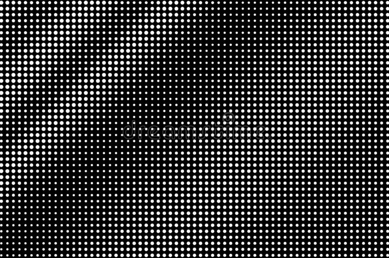 White dots on black background. Distressed halftone vector texture. Dynamic dotwork gradient for vintage effect stock illustration