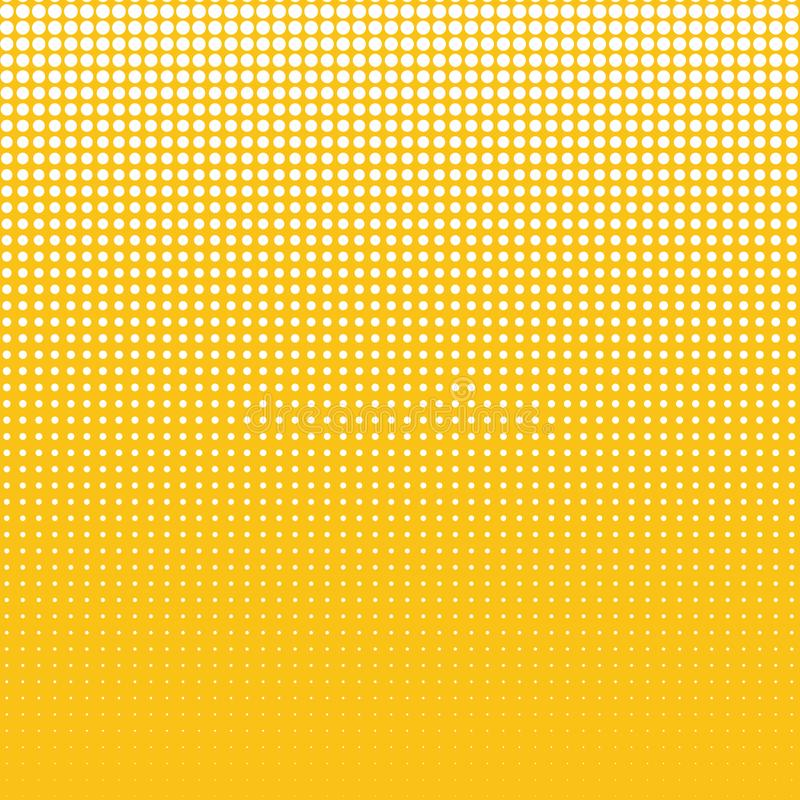 The white dots of different sizes on yellow background. vector illustration