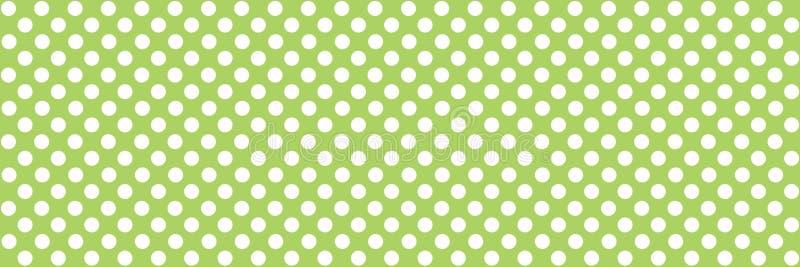 White dots on green - Polka dot background texture. Green and white polka dots background banner royalty free illustration