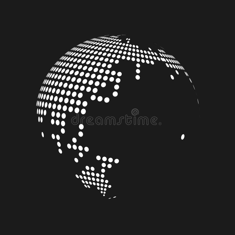 White dotted 3d earth world map globe in black background. Vector illustration royalty free illustration