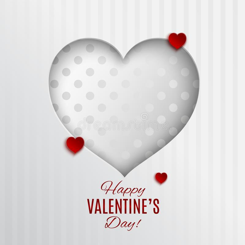 Free White Dotted Heart Vector Illustration On White Textile Striped Background With Frame For Valentines Day Greeting Card Stock Photos - 107448623