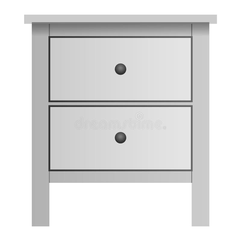 White double drawer mockup, realistic style. White double drawer mockup. Realistic illustration of white double drawer mockup for web design isolated on white royalty free illustration