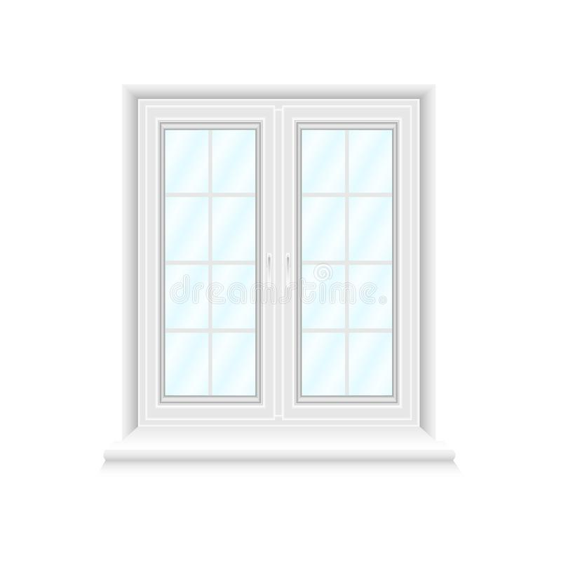 White double window frame on white background with blue glasses vector illustration